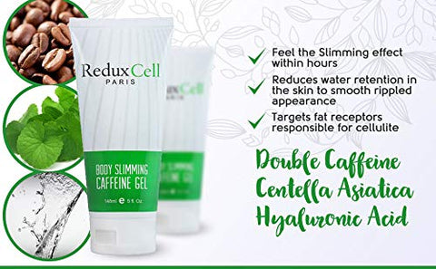 ReduXCell Fat Burning Cream For Belly -Burn Fat 3X Faster- Anti Cellulite Cream with Double Caffeine, Hyaluronic Acid, Sea Grape - Body Firming Cream and Cellulite Remover.