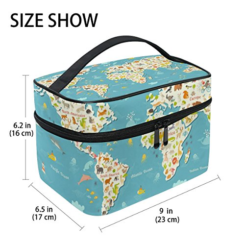 Cooper girl Animals World Map Cosmetic Bag Travel Makeup Train Cases Storage Organizer
