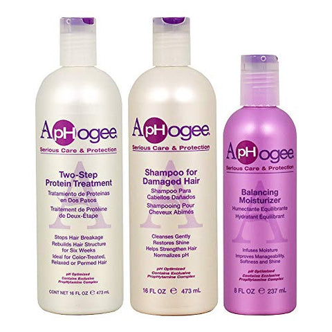 Aphogee Trio Two Step Protein Treatment Bundle With Curlific Hydrating Curl Serum And Balancing Mois