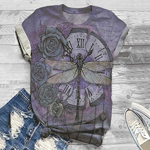 Xinantime Womens Dragonfly Rose Clock Print T-Shirt Summer Loose Comfy 3D Animal Print Blouse Top Tunic Casual Beach Tee (Purple,XX-Large)