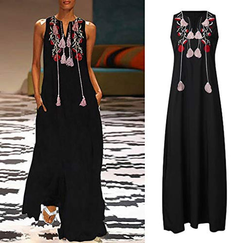 TEVEQ Women Maxi Dress Vintage Dresses for Women Plus Size Dress Sleeveless Floral Summer Boho Dress Black