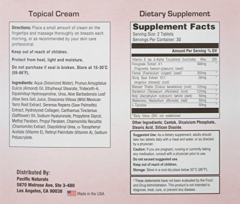 Breast Actives All Natural Breast Enhancement Supplement Capsules and Cream Combo Kit - Natural Formula for Natural Breast Enhancement - 1 Pack (1 Month Supply) - 60 Capsules - 2 oz Cream