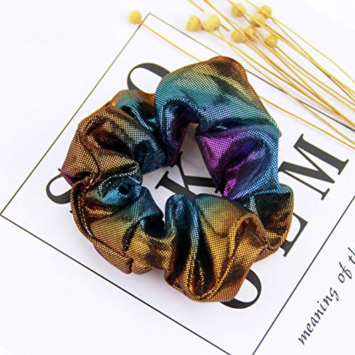 Lurrose 8pcs Shiny Scrunchies Metallic Hair Rope Ponytail Holders for Women Girls (Pink Blue + Blue Brown + Yellow Green + Purple Blue + Red Orange + Double Blue + Rose Red + Rainbow Color)