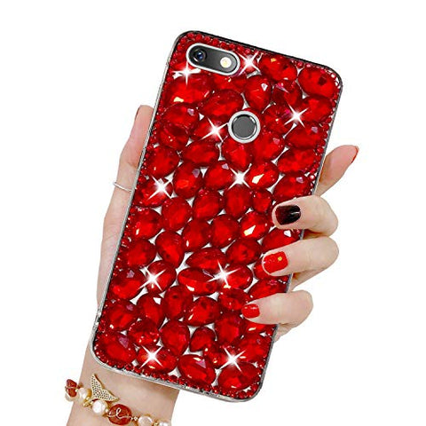 Bling Diamond Case for Huawei P9 Lite Mini, Mistars 3D Handmade Sparkle Glitter Crystal Rhinestone Hard PC Back Cover + Soft TPU Frame Protective Case for Huawei P9 Lite Mini, Red