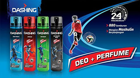 DASHING Deo Perfume Body Spray Hattrick 120ml -Formulated with long-lasting, masculine DASHING fragrances it ensures you're feeling fresh and smelling great throughout the day.