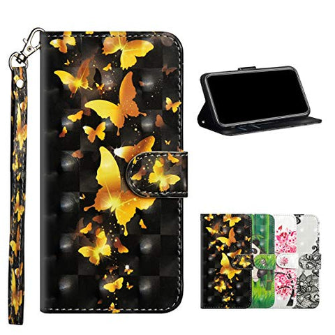 Mistars Wallet Case for Huawei Honor 8S, 3D Effect Gold Butterfly Pattern PU Leather Flip Cover [Magnetic Closure][Card Slots] Soft TPU Stand Protective Case for Huawei Y5 2019 / Honor 8S