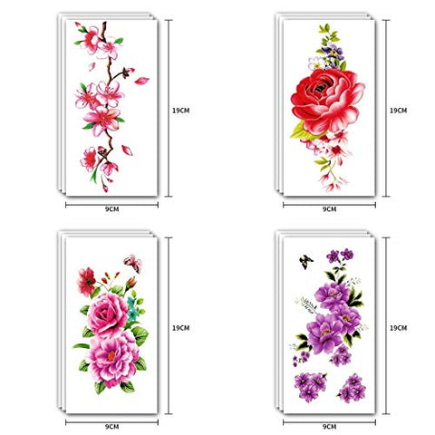 Onwon 12 Sheets Flower Temporary Tattoos Stickers Flash Sexy Body Tattoo Paper Roses Lotus Cherry Butterflies, 3.6