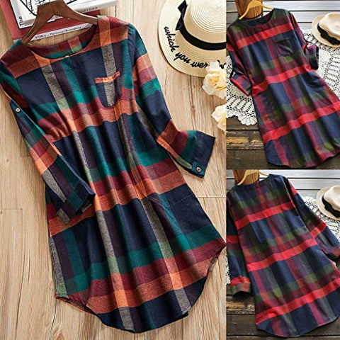 Xinantime Women Retro Dress Plaid Long Sleeve Loose Swing Vintage Dress with Pocket
