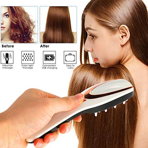Tmtop 3-IN-1 USB Rechargeable Anti Hair Loss Phototherapy Scalp Massager Comb