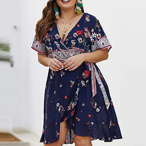 terbklf Plus Size Evening Party Long Dresses for Women Sexy Elegant Ladies Summer Vintage Dresses for Fat Belly Women Blue