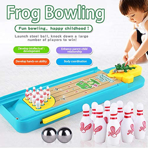Renzhe Indoor Bowling Lane, Mini Bowling Game,Frog Table Bowling Pre-Kindergarten Toy for Kids,Desktop Launcher Bowling Indoor Game Set with Lane Base,Stainless Steel Ball