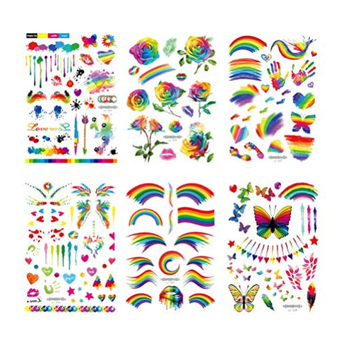Amosfun 6 Sheets Rainbow Temporary Tattoo Sticker Disposable Face Sticker Waterproof Tattoo Stickers Colorful Body Stickers for Men Festival Party Women
