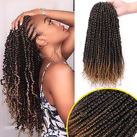 6 Packs Passion Twist Hair(16strands/Pack) Pre Passion Twist Crochet Hair 18 Inch Pre-Looped Passion Twists Crochet Ombre Blonde Hair Extension for Black Woman(T27#)