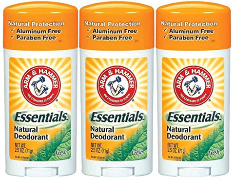 Arm & Hammer Essentials Natural Deodorant, Fresh - 2.5 oz - 3 pk