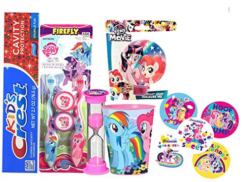 My Little Pony Girl's All Inclusive Bathroom Collection! Toothbrush, Cap, Toothpaste, Brushing Timer, Rinse Cup, Night Light & Reward Stickers! Plus Dental Gift Bag & Tooth Saver Necklace!