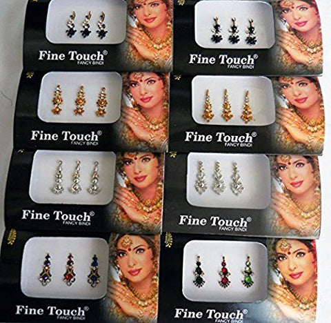 8 Full Pack Lot Assorted Multicolor Bindi Forehead Tattoos Stickers-BIN6A