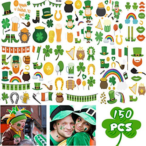 150 PCS Shamrock Tattoos St. Patrick's Day Tattoos Four Leaf Clover Temporary Tattoos Stickers Accessories Party Favors Gifts