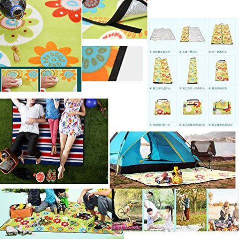 Extra Large Picnic Blanket Water-Resistant Beach Blanket (Green/79 * 79 inch)