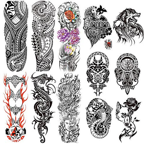 Leoars Full Sleeve Temporary Tattoos Totem Theme, Totem Half Arm Tattoos Temporary and Extra Large Full Arm Tattoo Sleeves for MenWomen,12- Sheet