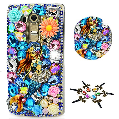 STENES LG Tribute Dynasty Case - STYLISH - 100+ Bling - 3D Handmade Pretty Mermaid Flowers Design Protective Case For LG Tribute Dynasty - Colorful
