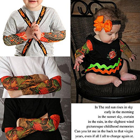 6pcs Temporary Tattoo Sleeves for Kids Boy Girl, Fake Slip On Arm Sunscreen Sleeves Cover Up Body Art Arm Stockings Slip on Accessories For Outdoor Sport - Eagle, Skull, Tribal, Dragon, Clown, Snake