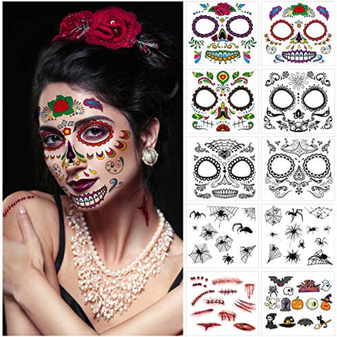 Frcolor Halloween Tattoo Kit 10 Sheets,Temporary Halloween Makeup Skull Floral Skeleton Scar Spider Waterproof Tatoos for Masquerade Party Cosplay Costume