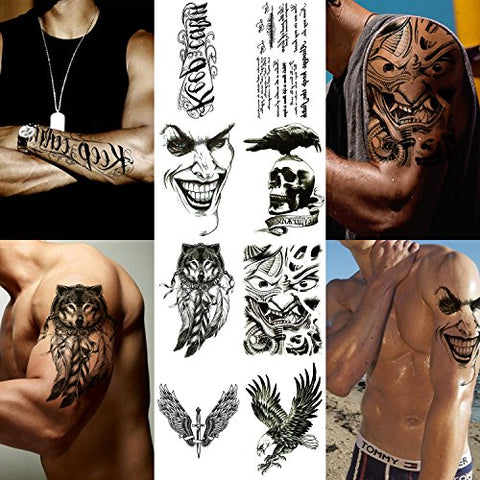 Playmax 8 Sheets of Stylish Waterproof Long Lasting Rocker Cool Evil Design Wolf Eagle Crow Skull Sword Winds Words Body Arms Shoulders Chest Back Temporary Tattoo Stickers for Teens Guys Boys Men