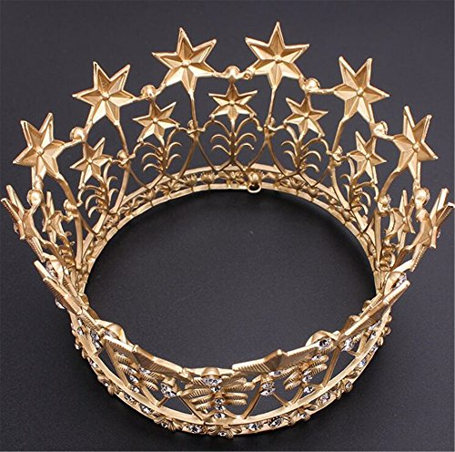 "Wiipu Baroque Large Gold Full Circle Crystal Star Tiara Crown,4.7"" Diameter(A1701) (Gold)"