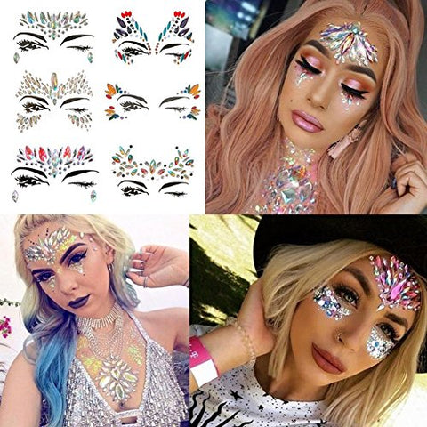 Face Sticker Chest Sticker - Face Gems Adhesive Glitter Jewel Tattoo Sticker Festival Rave Party Body Make Up Chest Gems Set