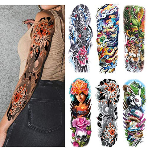 Leoars Extra Large Sleeve Temporary Tattoos, Full Arm Tattoo Sleeves, Fake Sleeve Tattoo Stickers for Men Women, 6-Sheet