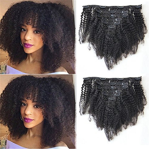 Natural Color Afro Kinky Curly Human Hair Clip In Extensions for African American Virgin Brazilian Hair 4B 4C Afro Kinky Curly Clip Ins For Black Women 7pcs/lot 120gram/set (16inch)
