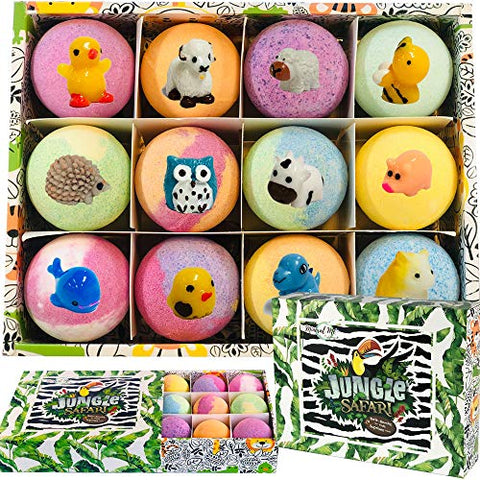 Bath Bombs For Kids With Surprise Inside   Set Of 12 Organic Bubble Bath Fizzies With Jungle Animal