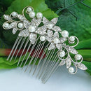 Image of Sindary Wedding Headpiece Bridal Hair Accessories Silver-tone Pearl Rhinestone Crystal Wedding Hair Comb