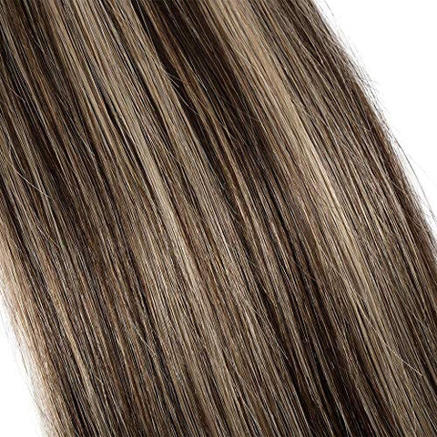 Clip In Hair Extensions Human Hair Balayage Highlight #4 Medium Brown To Strawberry Blond Human Hair