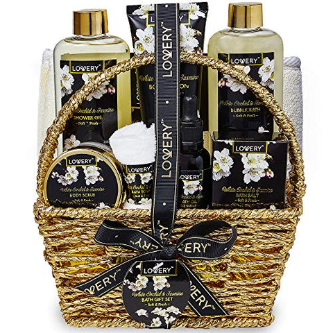 Bath and Body Gift Basket for Women and Men  Orchid and Jasmine Home Spa Set With Body Scrubs, Lotions, Oils, Gels and More - 9 Piece Set
