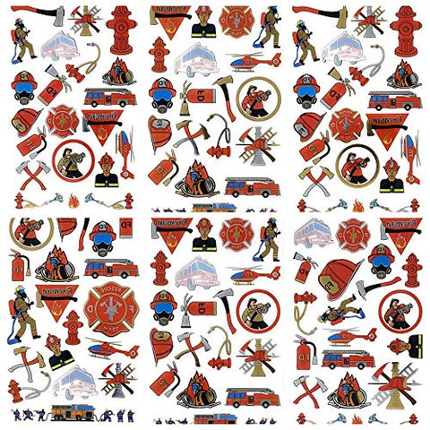 Firefighter Temporary Tattoos | 152 Tattoos on 8 Sheets | For Party Favors | Fire Fighter Party Supplies | Fire Man Birthday Parties | Metallic Fireman Tattoos | For Kids and Adults | By John & Judy