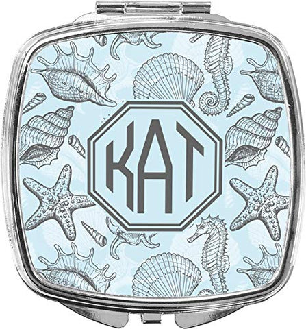Sea-blue Seashells Compact Makeup Mirror (Personalized)