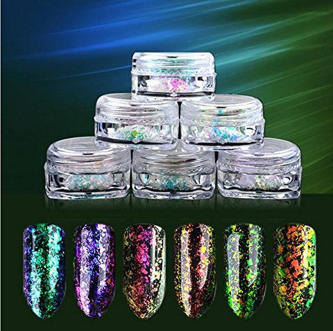 Nail Powder, LilyAngel Star Chrome Chameleon Nail Powder Mirror Effect Powder For Nail Lightweight 6 Colors