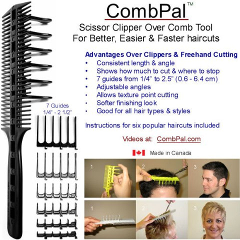 Comb Pal Scissor Clipper Over Comb Hair Cutting Tool Barber Haircutting Comb Set (Yellow)