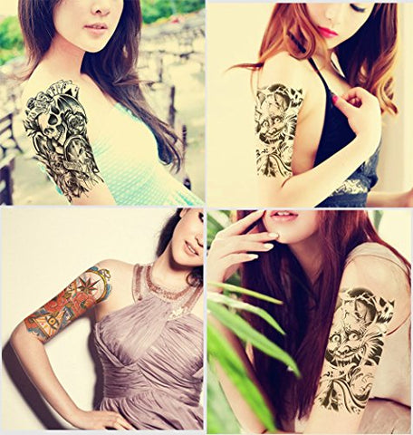 waway 15 Style Sheets 21x15CM Half Arm Sticker Shoulder Tattoos Temporary Tatto Men Waterproof Women Tattoo Arms Fake Sleeve Cool Body Tattoo Sleeves (Set-8)