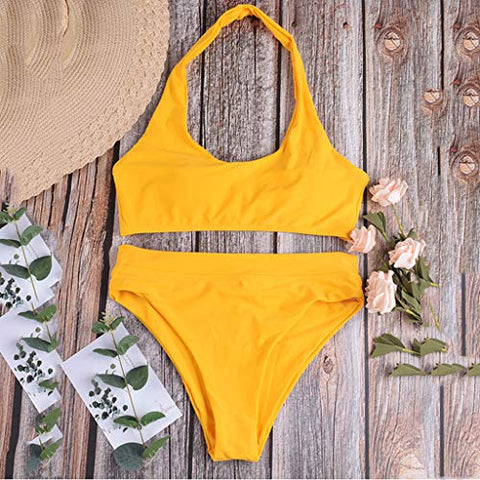 Xinantime Womens Solid Two Piece Swimsuits High Waist Swimwear Bathing Suits for Women (Yellow,L)