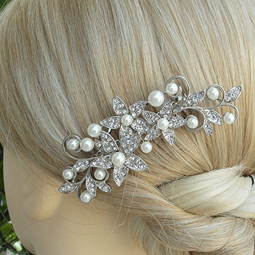 Sindary Wedding Headpiece Bridal Hair Accessories Silver-tone Pearl Rhinestone Crystal Wedding Hair Comb