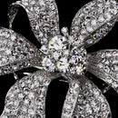 Image of Large Rhinestone Flower Wedding Bridal Barrette - Special Occasion, Prom, Party