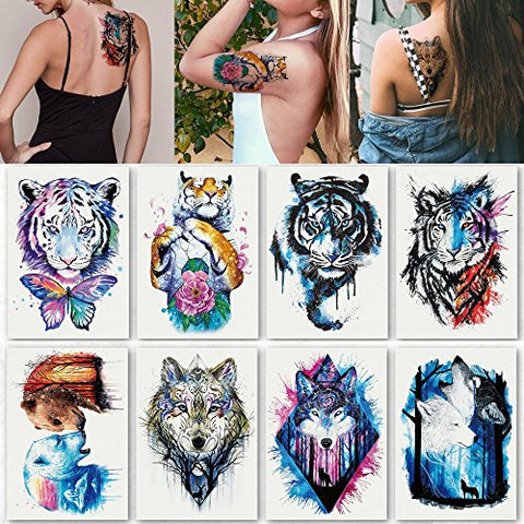 Kotbs 8 Sheets Temporary Tattoo for Man Guys Women Waterproof Large Fake Tattoo Temporary Tattoos Body Sticker Arm Shoulder Chest Back Makeup Tiger Wolf Design