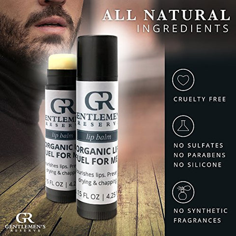 Gentlemen??s Reserve (4-Count) Organic Lip Balm for Men, Unscented & All-Natural Chapstick, Moisturizes & Heals Dry, Sensitive, or Chapped Lips - 4-Pack
