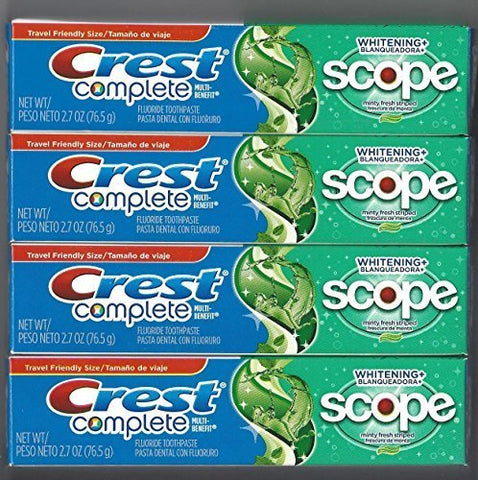 Crest Complete Multi-Benefit Whitening + Scope Minty Fresh Flavor Toothpaste 2.7 Oz (Pack of 4)