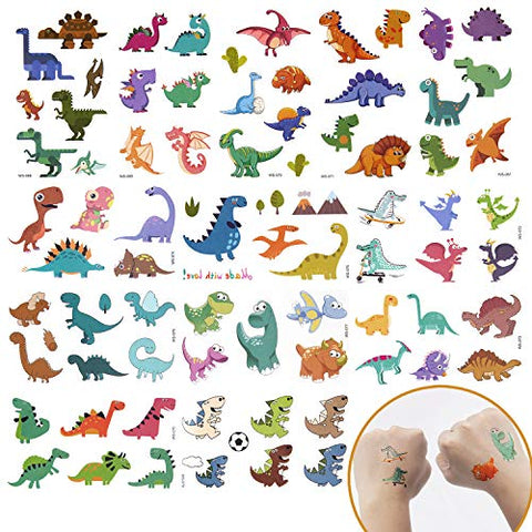 SAVITA Temporary Tattoos for Kids Boys Girls, 150+ Pcs(26 Sheets) Waterproof Tattoo Stickers for Dinosaur Theme Birthday Party Favors