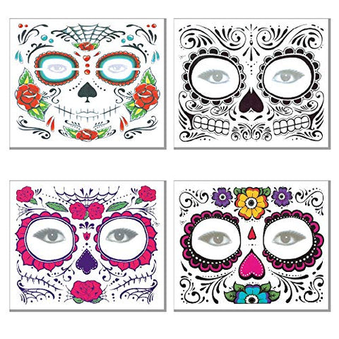 JiaoPo 4pc Halloween Face Tattoo Temporary Sticker Waterproof Green Personality Masquerade Facial Temporary Sticker - Man or Woman