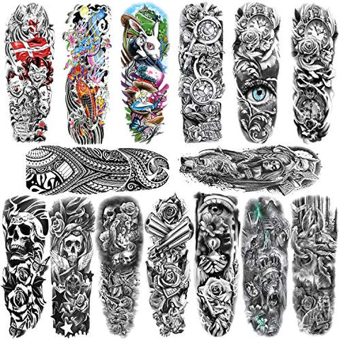 Konsait 15 Sheets Large Temporary Tattoos Full Arm Tattoo Sleeves Temporary Sleeve Tattoos Large Fake Body Art Arm Chest Shoulder Tattoo Black tattoo Body Stickers for Man Women