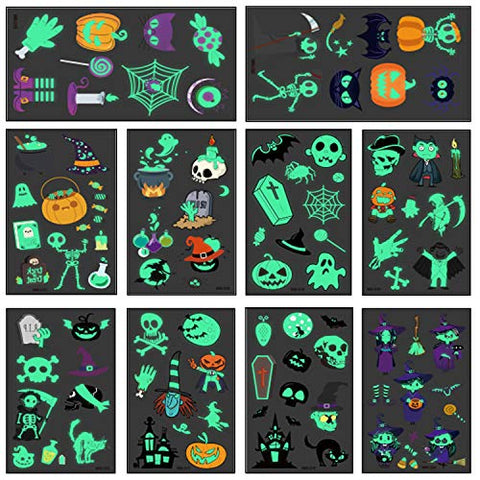 91 pc Halloween Glow in the Dark Temporary Tattoo Sticker for Kid, 10 Sheet Waterproof Sweatproof Child Cartoon Tattoo Party Supplies Pumpkin Bats Witch Monster Ghost Tattoos Stickers, Trick or Treat